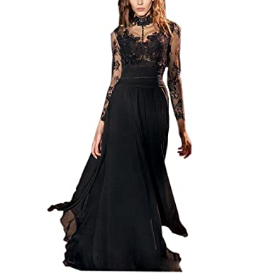 Ike Chimbandi See Through Black Lace Prom Dresses High Color Chiffon Evening Gowns at Amazon Womens Clothing store: