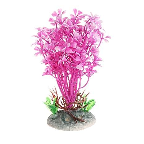 Xuniu Plantas acuáticas Flor de mar Rosa Tanque de Peces Artificial Acuario Primer Plano Decorar (