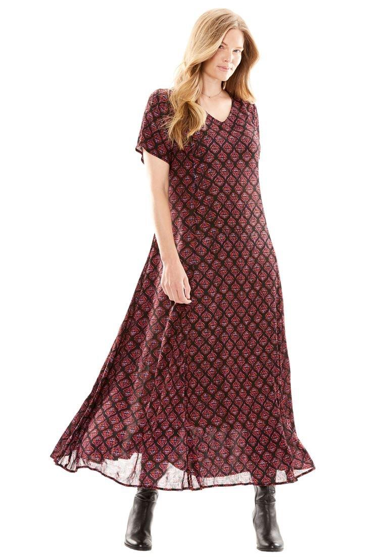 Women's Plus Size Petite Crinkle Maxi Dress Black Festive Ornament,M