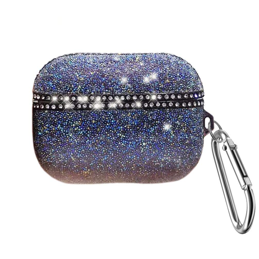 Dark Blue Swarovski Crystal Case for Airpods Pro Cover Soft Silicone Shockproof Case for Airpods Pro Charging Case Accessory