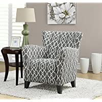 Monarch Specialties Brown Bell Pattern Fabric Club Chair, 35-Inch