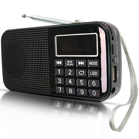 Radio FM SD USB MP3 PORTÁTIL Recargable PRUNUS con BATERÍA DE Gran Capacidad (3000mAh,