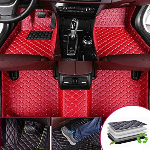 Custom Car Floor Mats for Land Rover Discovery Sport 5-Seats 2015 Rear seat Fixed Full Surrounded Waterproof Anti-Slip All Weather Protection Leather Material Car mat Carpet Liners Red