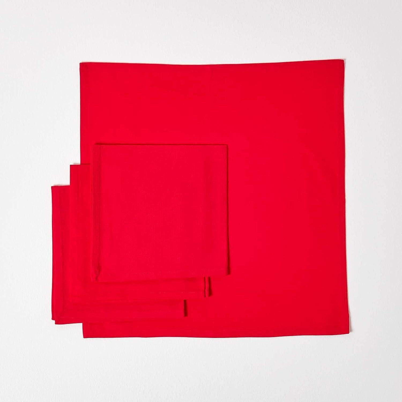 Homescapes Set di 4 tovaglioli a quadretti 100/% puro cotone motivo a quadri 45 x 45 cm verde