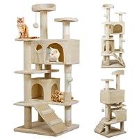 Yaheetech Katzenkratzbaum Katzenbaum Spielbaum mit Seil und diversen Plattformen 130 cm Hoch