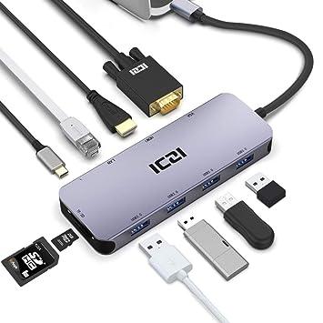 ICZI USB Hub, Hub Type C 10,en,1 Multifuntion, avec 4 Ports USB 3.0,