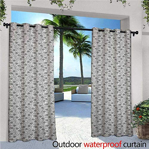 Black and White Exterior/Outside Curtains Doodle Style Monochrome Leaves with Swirled Lines Bullseye Circle and Dots for Patio Light Block Heat Out Water Proof Drape W120
