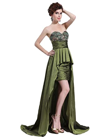Kimgala Womens Yellow Green Satin Prom Dresses Sweetheart High Low Pleated Beaded Party Dresses