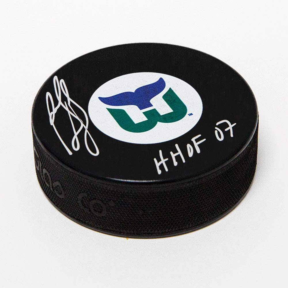 Ron Francis Hartford Whalers Autographed Autograph Retro Logo Hockey Puck with HOF Note Certificate of Authenticity Included