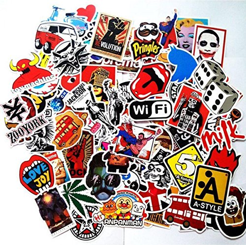 pack of 100pcs Stickers Decals for Laptop,Kids,Cars,Motorcycle,Bicycle,Skateboard Luggage Vinyl Sticker Hippie Decals,Waterproof sticker-Random sticker