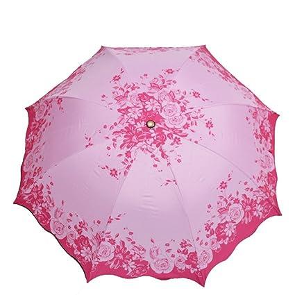 MinegRong Paraguas Plegable Pequeño Paraguas Negro Protector Solar Paraguas Verano Tres Rosa Impresión, Rose roja