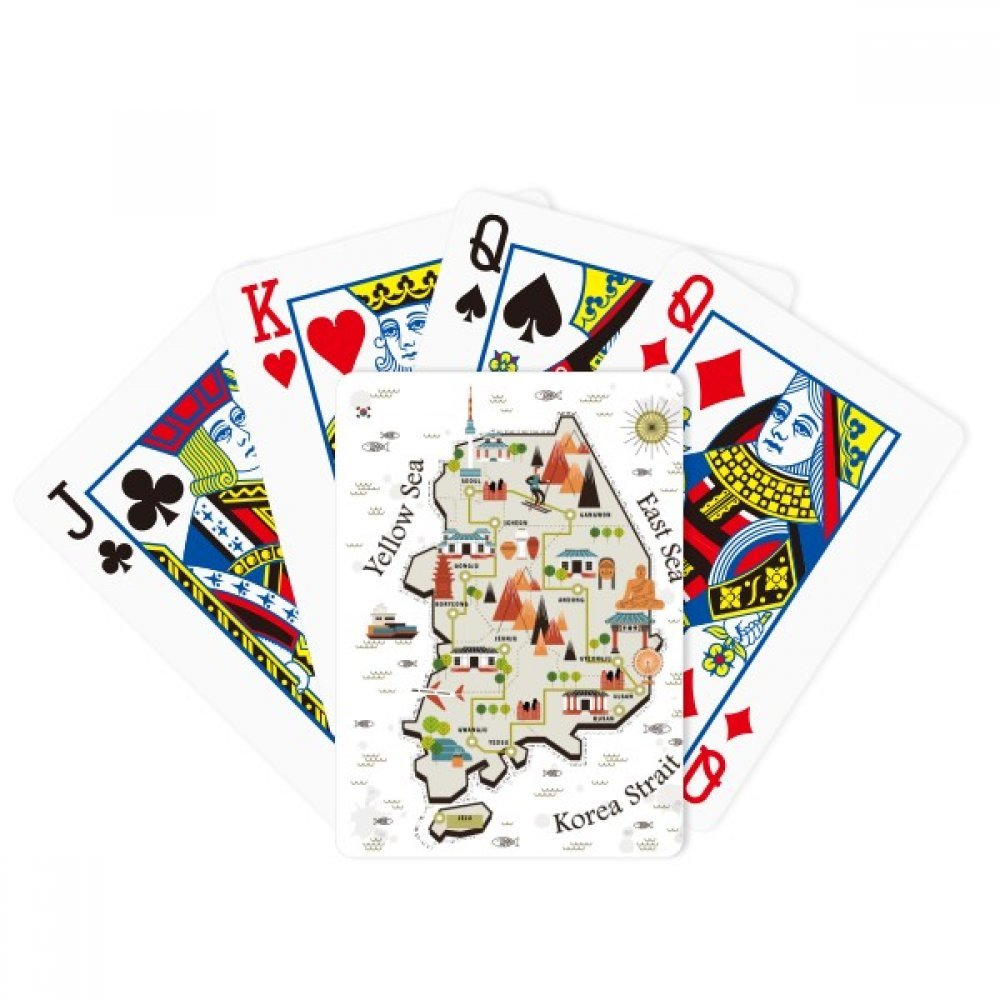 beatChong South Korea Landmarks Travel Map Poker Playing Card Tabletop Board Game Gift by beatChong