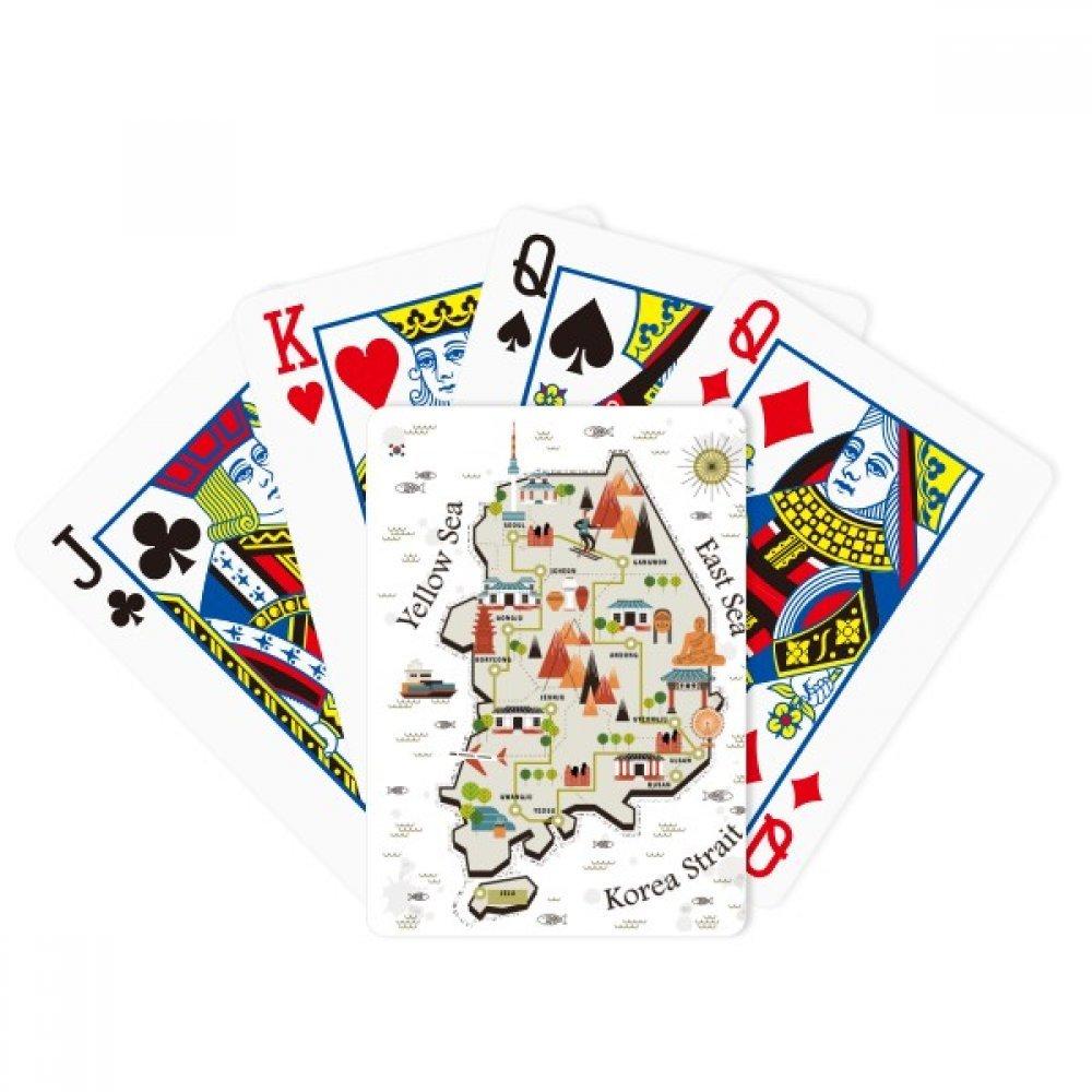 beatChong South Korea Landmarks Travel Map Poker Playing Card Tabletop Board Game Gift