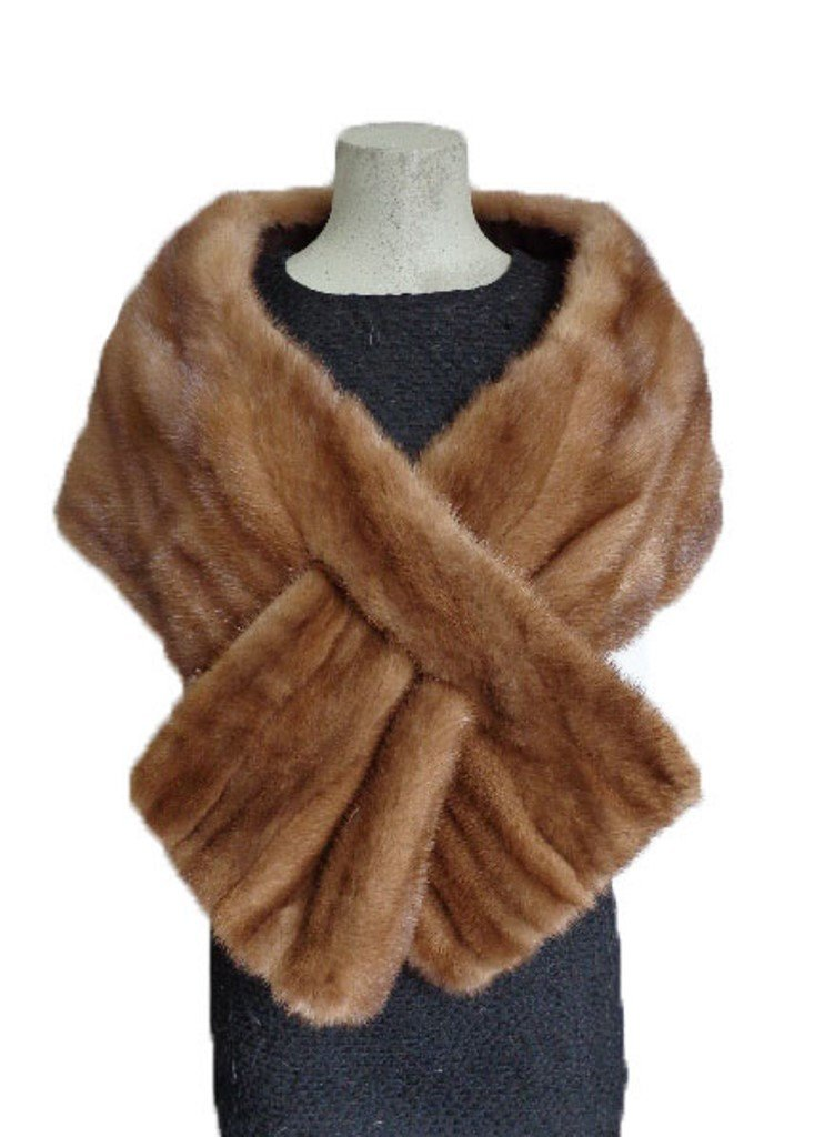 Women's New Mink Fur Cape Stole Wedding Special Occasions