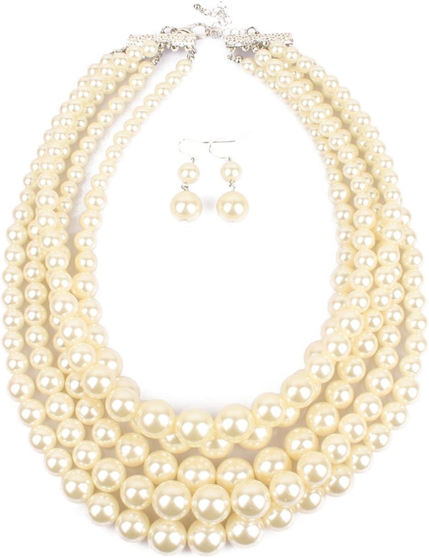 Elegant Long Chain Pearl Bead White Charms Choker Bib Collar Statement Necklace
