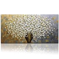 Gbwzz Pittura a olio astratta dipinta a mano del paesaggio del fiore bianco