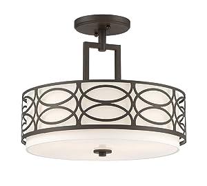 """Kira Home Sienna 15"""" 3-Light Semi Flush Mount Ceiling Light + Glass Diffuser, Oil-Rubbed Bronze Finish"""