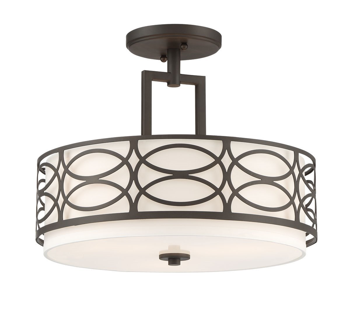Kira Home Sienna 15'' 3-Light Semi Flush Mount Ceiling Light + Glass Diffuser, Oil-Rubbed Bronze Finish by Kira Home