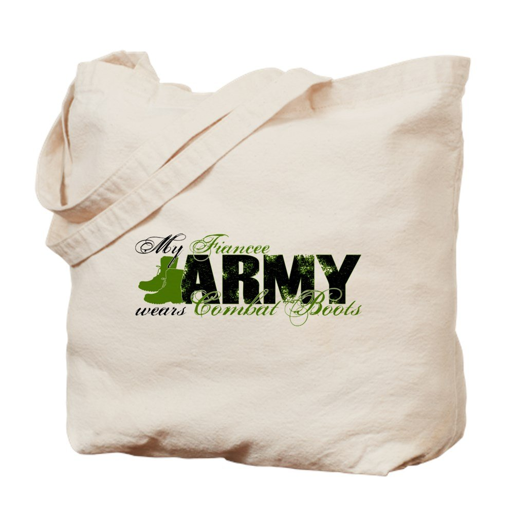 CafePress - Fiancee Combat Boots - ARMY - Natural Canvas Tote Bag, Cloth Shopping Bag