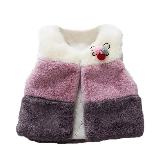 de9b0b68d Gyratedream Girls Winter Gilet Faux Fur Sleeveless Vest Coats ...