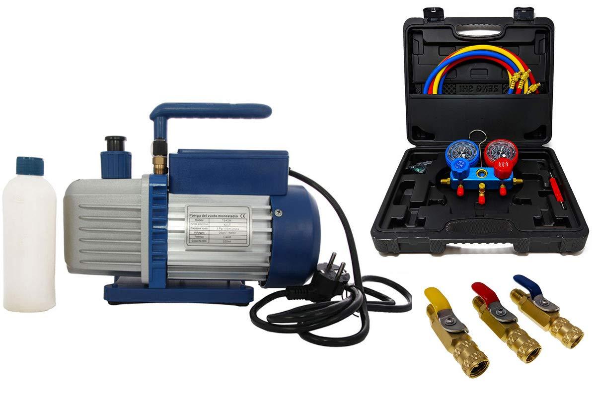 R32 Vakuumpumpe Unterdruckpumpe 42L inkl Kugelventile Monteurhilfe R410a