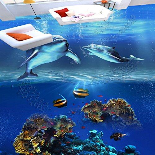 Wapel Custom Ocean World 3D Stereo Dolphin Floor Mural Self-Adhesive Shopping Mall Square Corridor Wallpaper Mural - Dolphin Shopping Mall