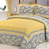 yellow quilt queen - Comforbed Yellow Leaf and Flowers Cotton Patchwork Bedspread Quilt Set Fit Queen Bed