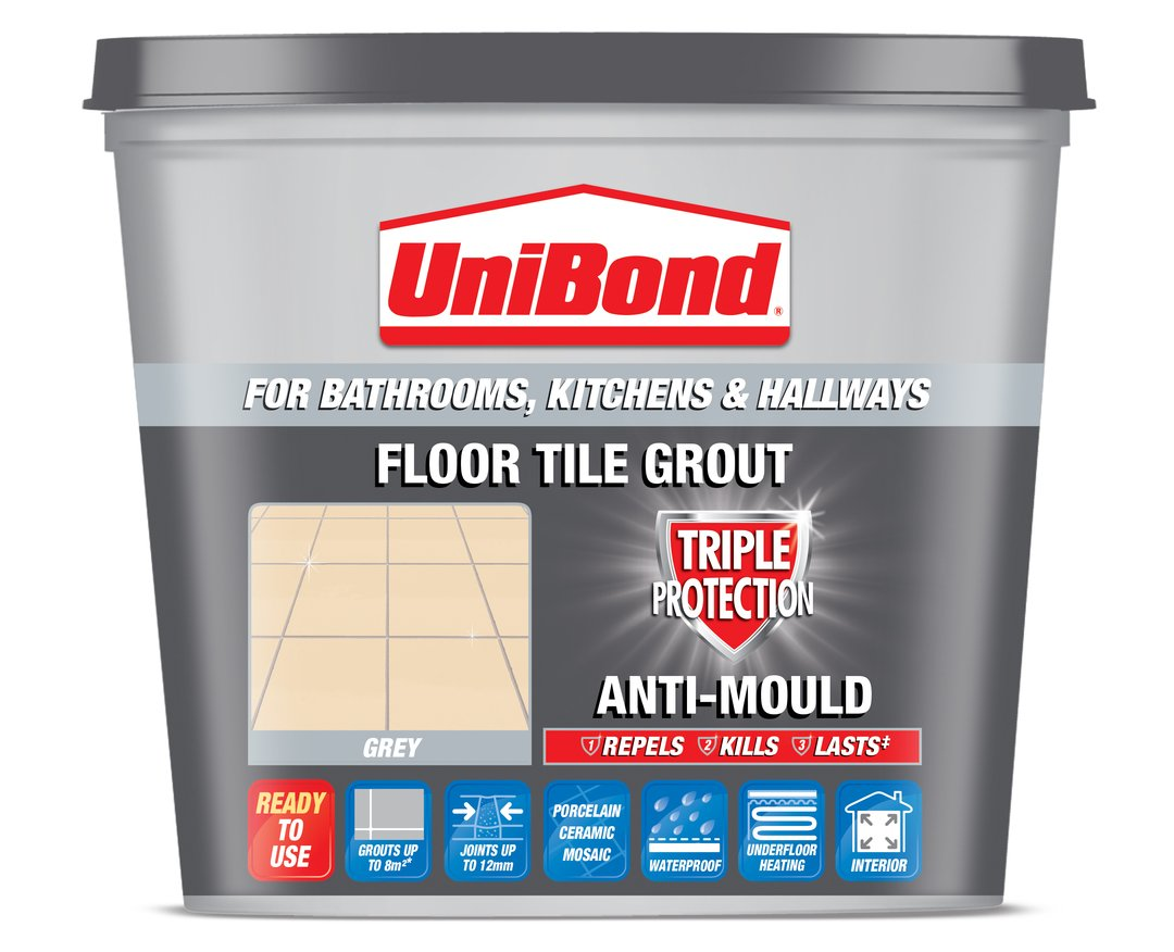Unibond floor tile grout with anti mould standard tub grey old unibond floor tile grout with anti mould standard tub grey old version amazon diy tools dailygadgetfo Images