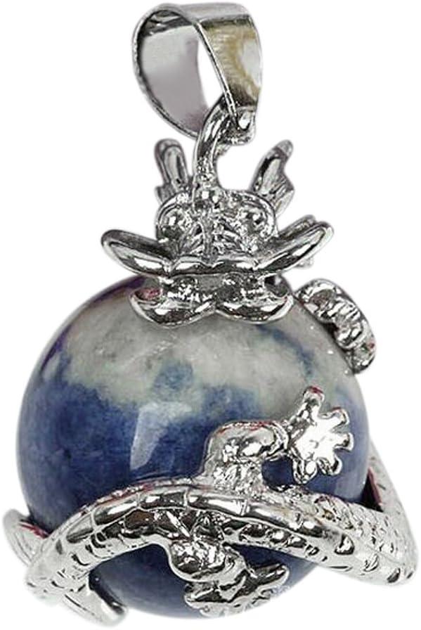 Cikuso 1 PCS Natural 15mm Piedra Preciosa Bola Colgante Envuelta Plata Aleacion Dragon para Mujeres Encantada Joyeria Collar - Lapislazuli