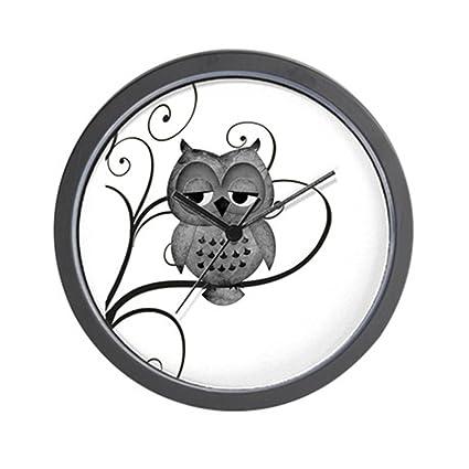 f930b57cf Amazon.com: CafePress - Black White Swirly Tree Owl Wall Clock ...