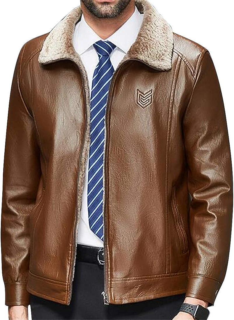 Fensajomon Mens Lapel Faux Leather Winter Fleece Warm Moto Biker Plus Size Windbreaker Jacket Coat