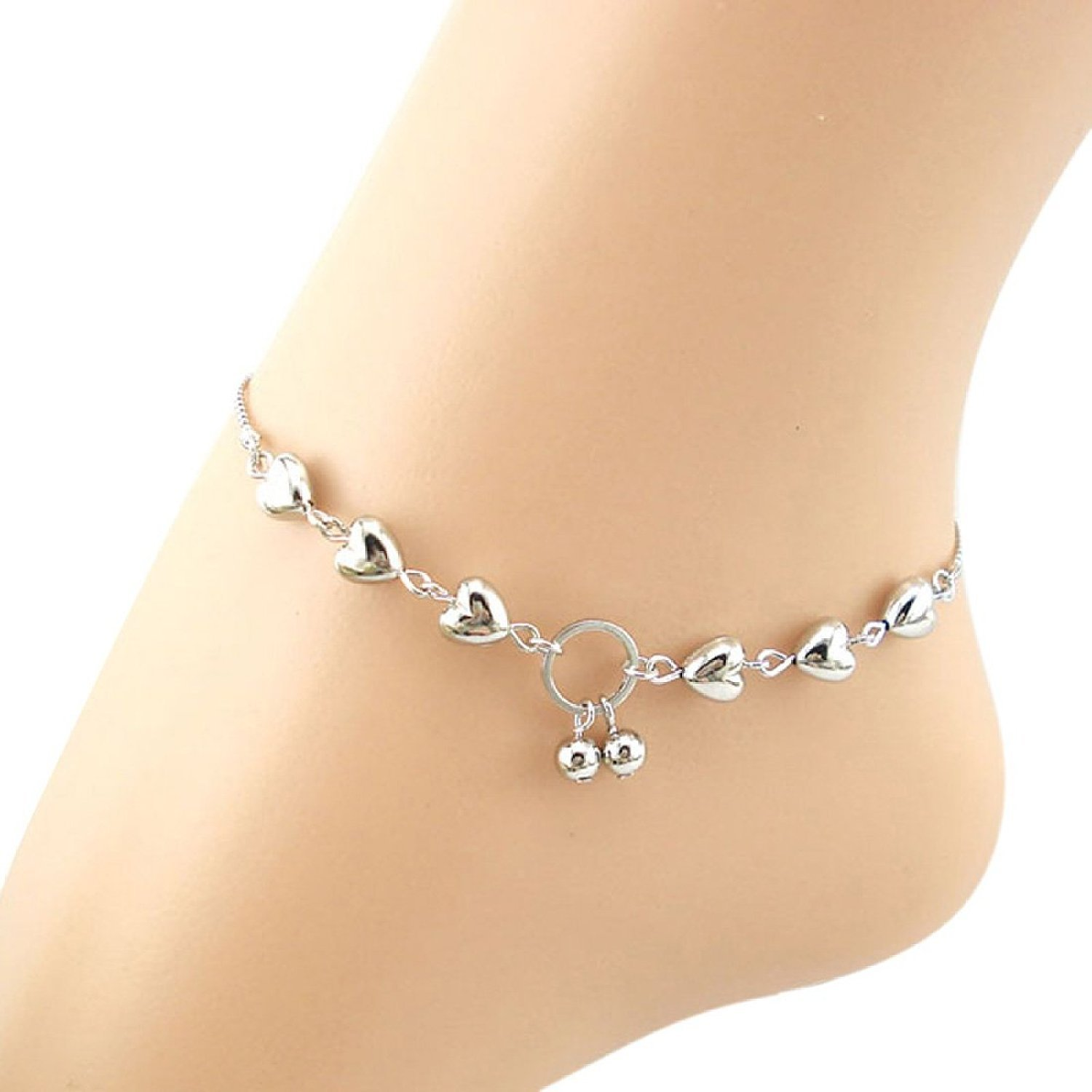SODIAL(R) 1PC Stylish Silver Double Heart Bead Jewelry Chain anklet bracelet Ankle Foot Beach 070411