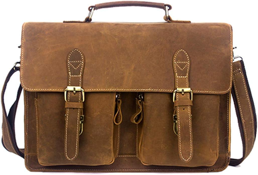 Mens Briefcases Vintage Horse Leather Bag Man Shoulder Laptop Bag Document Bags For Men 9033yellow brown