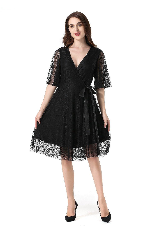 Black Hantaostyle Womens Elegant Vintage A Line Lace Dress VNeck Cardigan Short Sleeve Belt Knee Length Cocktail Swing Dresses