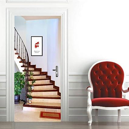 Deenli Stickers Porte 3d Stickers Salon Trompe L Oeil