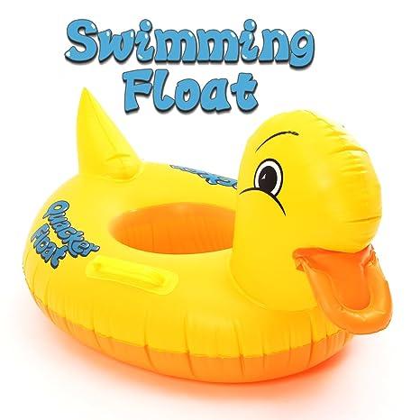 FUNTOK Pato amarillo anillos inflables de la natación Diseño amarillo lindo del pato Flotador Asiento del