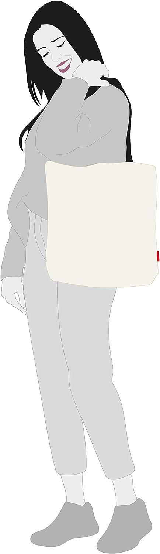 Algod/ón 100/% con Cremallera 37 * 38 cm + Bolso Tote Blanco Incluye sobre Kraft de Regalo. Forro y Bolsillo Interior asa: 28 cm