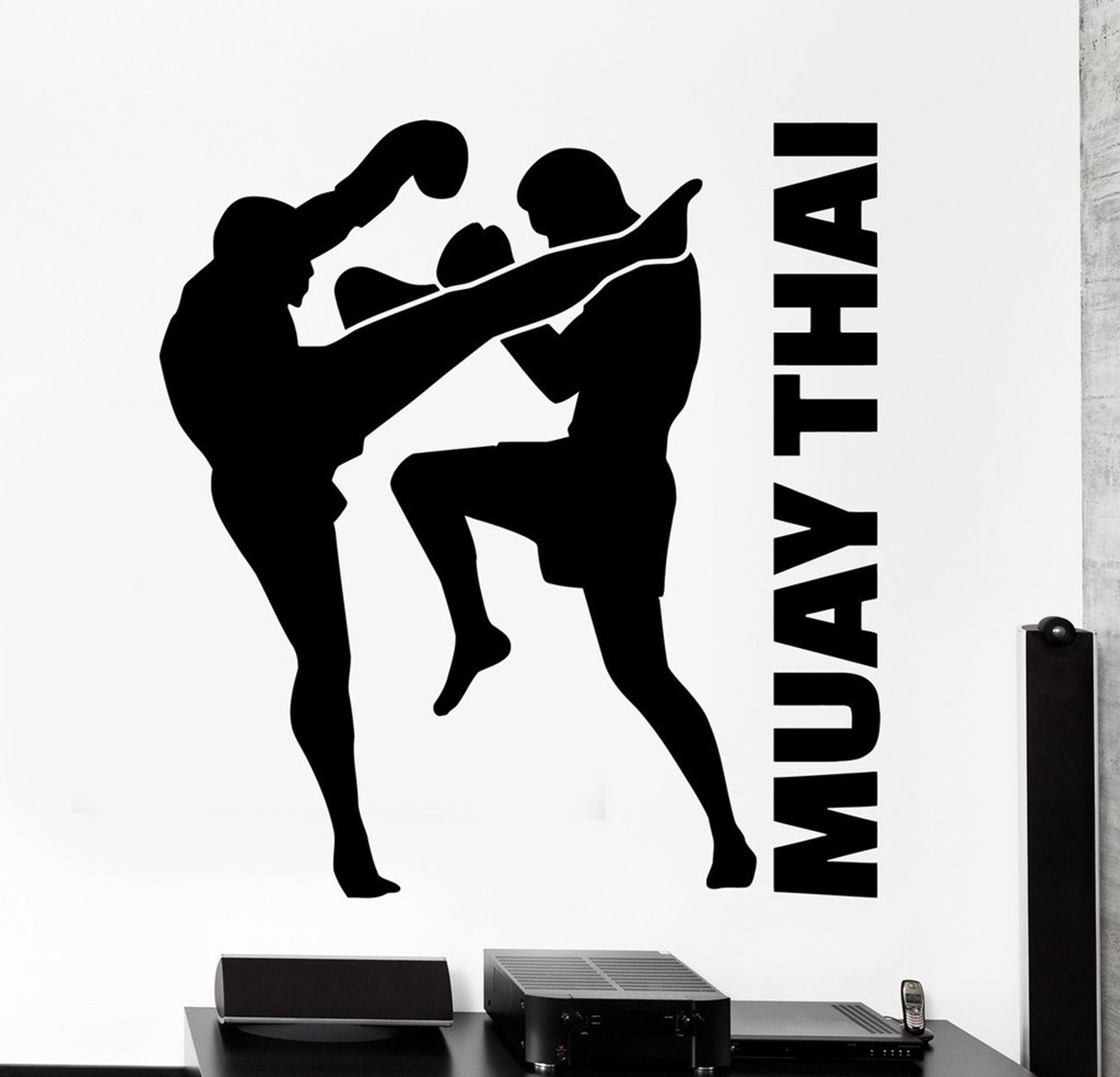 BorisMotley Wall Decal Sport Fighters Muay Thai Vinyl Removable Mural Art Decoration Stickers for Home Bedroom Nursery Living Room Kitchen by BorisMotley