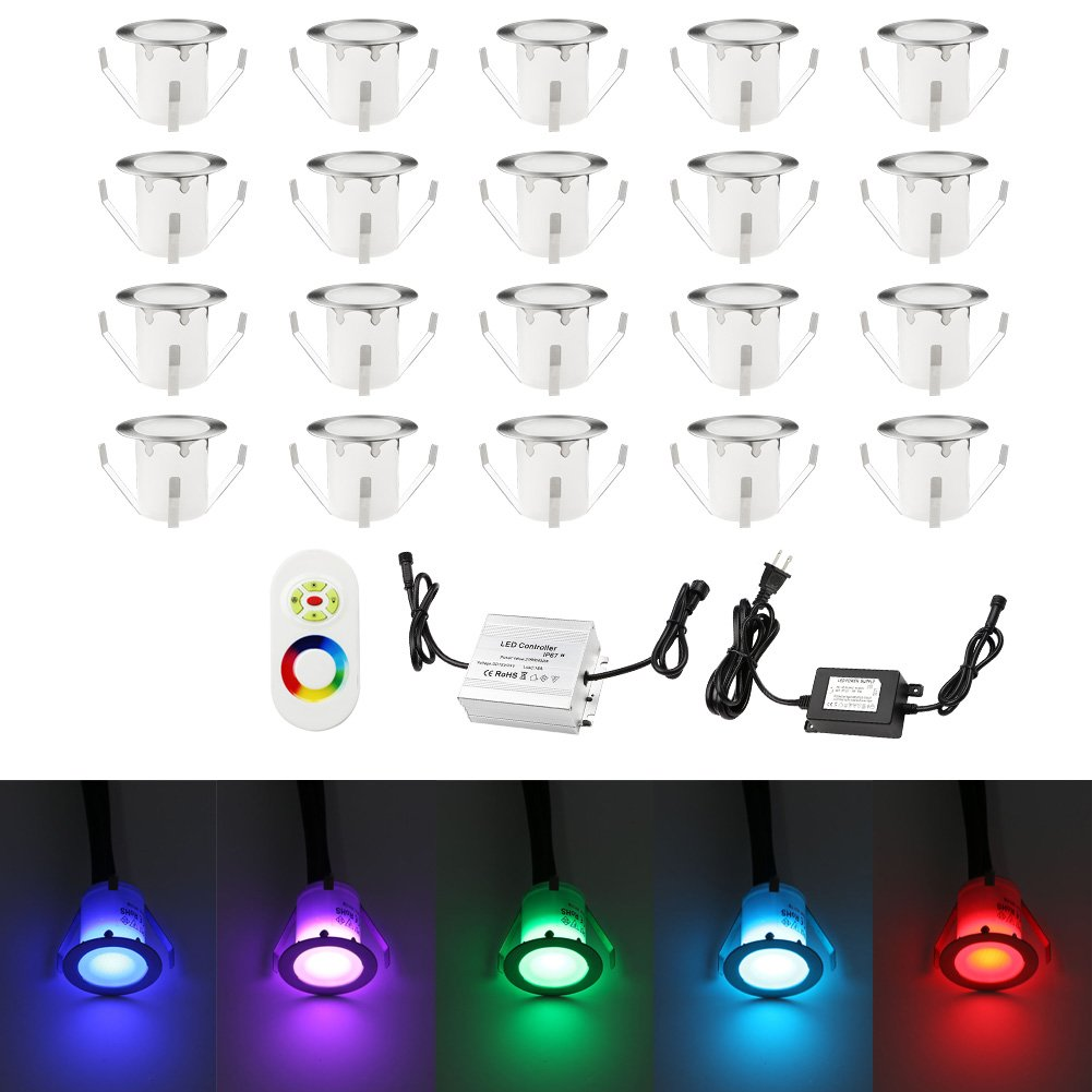 Pack of 20 Outdoor Deck Lights Low Voltage Led Deck Lighting IP67 Waterproof Stainless Steel Recessed Deck Step Lights Kit for Patio Pathway Garden Landscape (RGB) with Remote Control