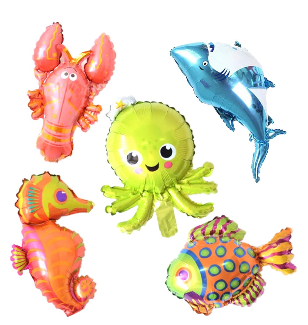 5 Pack Marine Sea Animals Foil Balloons Shark Octopus Sea Horse Tropical Fish Lobster Mylar Balloons for Kids Birthday Party Favors Carnival Festival Decoration (Jumbo)