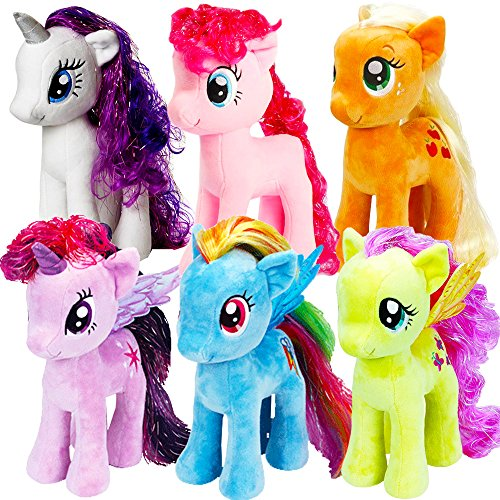 Ty My Little Pony Beanie Babies Collection -- Set of 6 Plush Dolls (Rarity, Pinkie Pie, Applejack, Fluttershy, Rainbow Dash and Twilight Sparkle) (Medium -