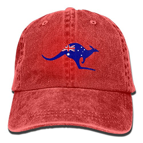 Kangaroo Australia Flag Denim Hat Adjustable Mens Casual Baseball (Mens Skeleton Costume Australia)