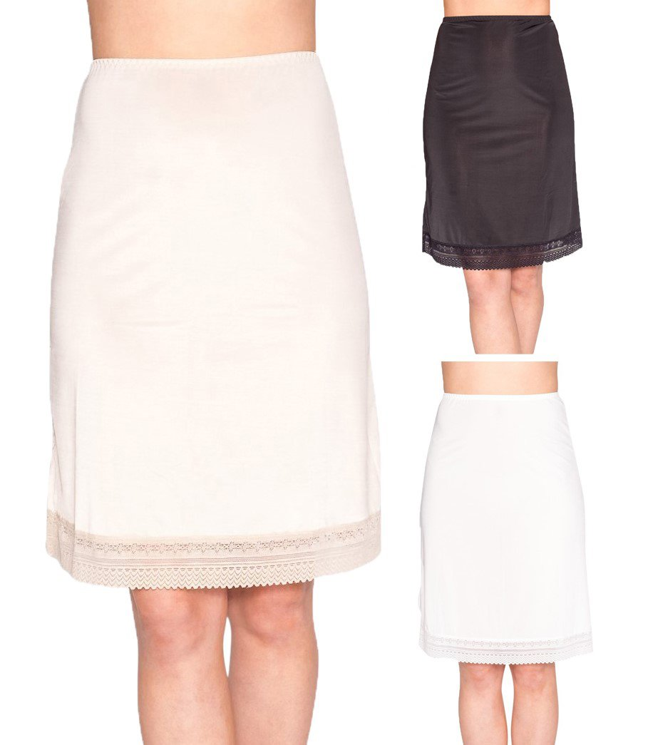 Free to Live 3-Pack Lace Trim Knee Length Slips (XL, Black, Ivory, Nude)