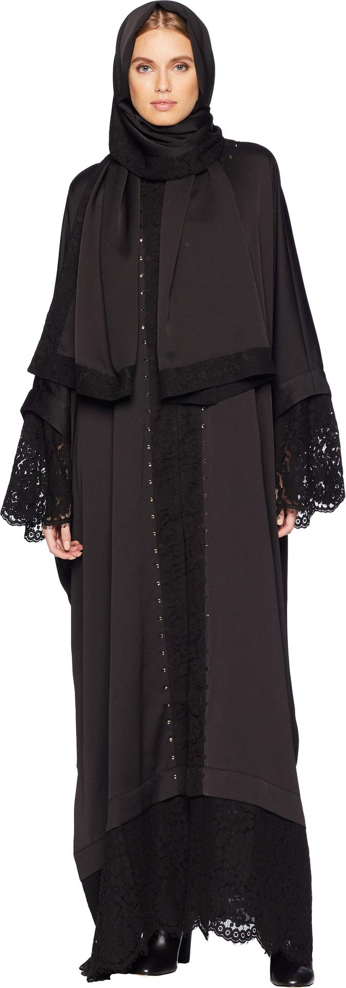 Juicy Couture Women's Embellished Abaya with Lace Pitch Black Petite/Small