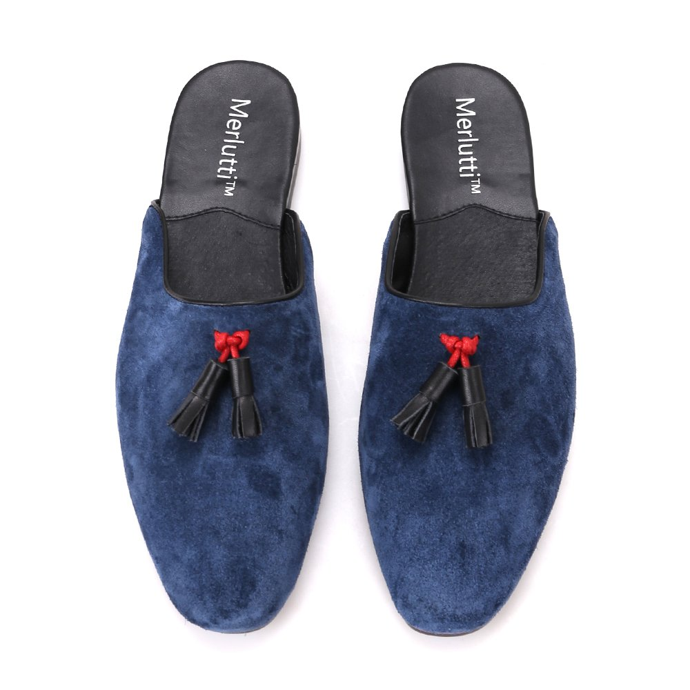 Amazon.com | Merlutti Blue Suede Leather Tasseled Sandals Mules Closed Toe | Sandals