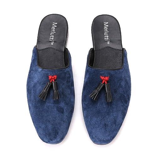 9912b733512 Suede Loafer Mules Closed Toe Sandals Men Leather Tassel Shoes Slip on Men ( Black