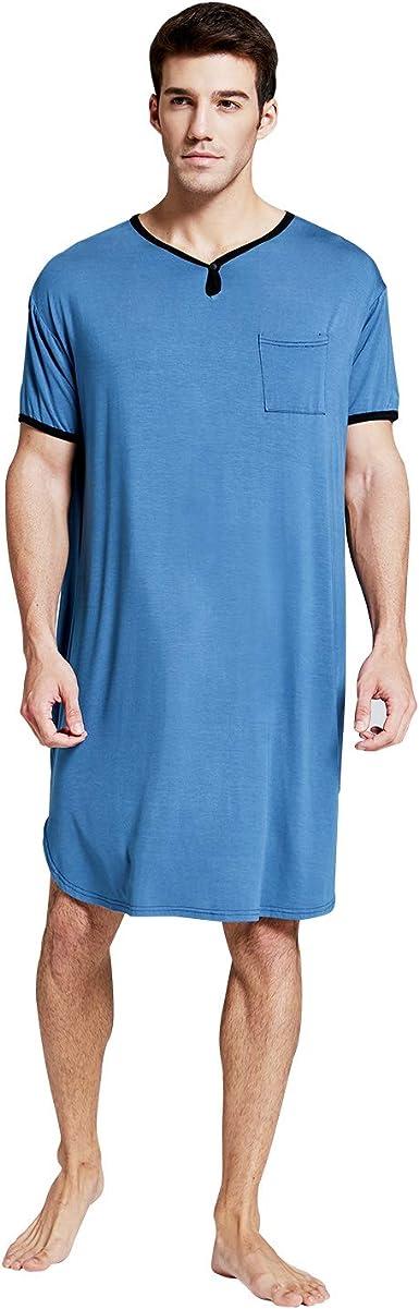 7 VEILS Men's Nightshirt Nightwear Comfy Big & Tall Short Sleeve Henley Sleep  Shirt Tops Nightgown at Amazon Men's Clothing store