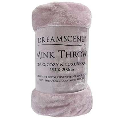 Dreamscene Luxury Faux Fur Mink Fleece Throw Over Sofa Bed Soft Warm Blanket a3e1def4a