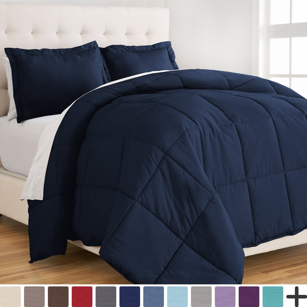Ultra-Soft Premium 1800 Series Goose Down Alternative Comforter Set - Hypoallergenic - All Season - Plush Fiberfill, Twin Extra Long (Twin XL, Dark Blue) by Bare Home