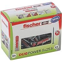 fischer DUOPOWER 5 x 25 S, universele pluggen met veiligheidsschroef, 2-componenten pluggen, kunststof pluggen voor…